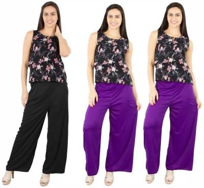 Fashion Flow+ Regular Fit Women's Black, Purple, Purple Trousers