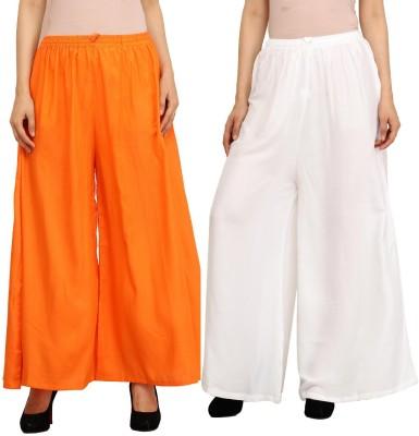 Guru Nanak Fashions Regular Fit Women's Orange, White Trousers