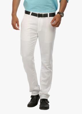 Wear Your Mind Slim Fit Men's Linen White Trousers