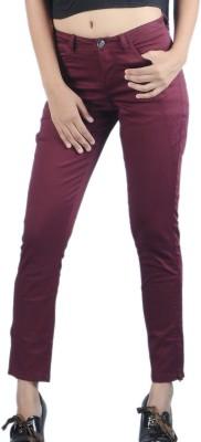 Klouden Skinny Fit Women's Maroon Trousers