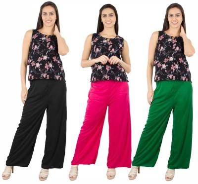 Fashion Flow+ Regular Fit Women's Black, Pink, Green Trousers