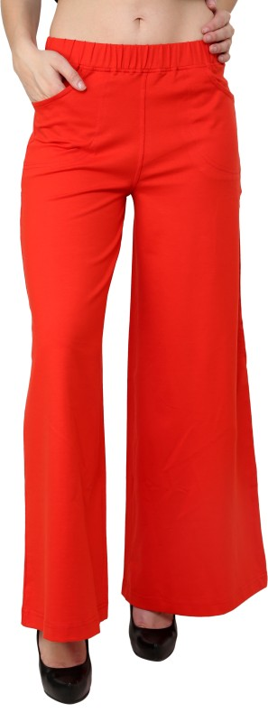 Finesse Regular Fit Women's Red Trousers