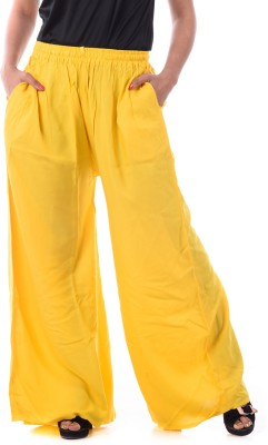Patterns Lets Create Regular Fit Women's Yellow Trousers