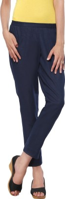Delfe Slim Fit Women's Dark Blue Trousers