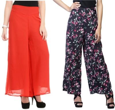 Lambency Regular Fit Women's Black, Multicolor, Red Trousers