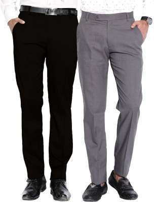 Fizzaro Regular Fit Men's Black, Grey Trousers