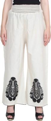 CJ15 Regular Fit Women's Linen Cream Trousers