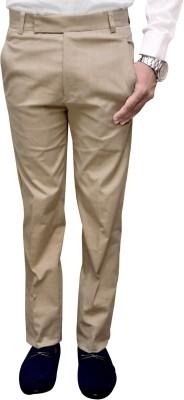 Attitude Works Slim Fit Men's Beige Trousers