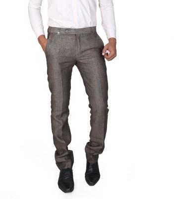 Boy Adam Slim Fit Men's Linen Brown Trousers