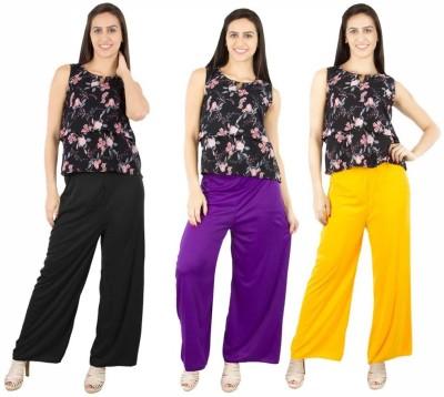 Fashion Flow+ Regular Fit Women's Black, Purple, Yellow Trousers