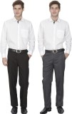 Fizzaro Regular Fit Men's Grey, Black Tr...