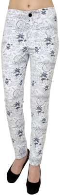 99Hunts Slim Fit Women's White Trousers