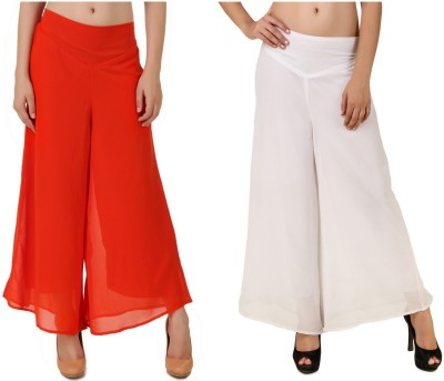 CHIKFAB Regular Fit Women's Orange, White Trousers