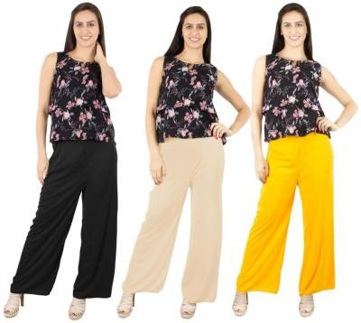 Fashion Flow+ Regular Fit Women's Black, Beige, Yellow Trousers