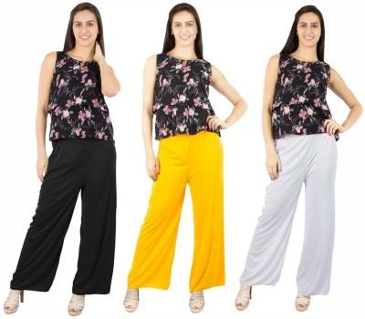 Fashion Flow+ Regular Fit Women,s Black, Yellow, White Trousers