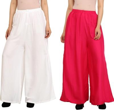 Guru Nanak Fashions Regular Fit Women's White, Pink Trousers
