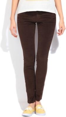 Lee Slim Fit Women's Brown Trousers at flipkart
