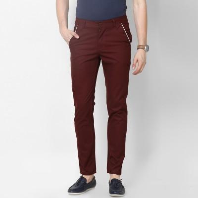 Haute Couture Slim Fit Men's Maroon Trousers