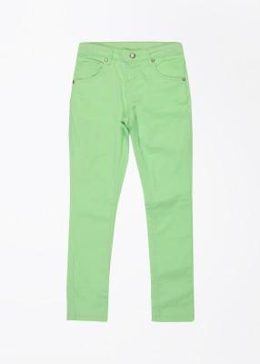 Gini & Jony Slim Fit Girl's Green Trousers