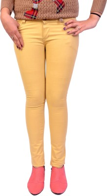 Cws Fashion Slim Fit Women's Yellow Trousers