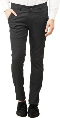 RICH PERK Slim Fit Men's Black Trousers