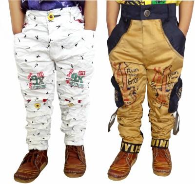 AD & AV Slim Fit Boy's White, Gold Trousers