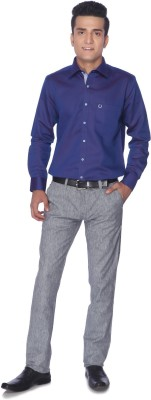 Silver Leaf Slim Fit Men's Grey Trousers