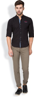 The Indian Garage Co. Slim Fit Men,s Brown Trousers