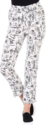 Oxolloxo Regular Fit Women,s White Trousers