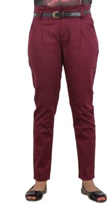 LondonHouze Slim Fit Women's Maroon Trousers