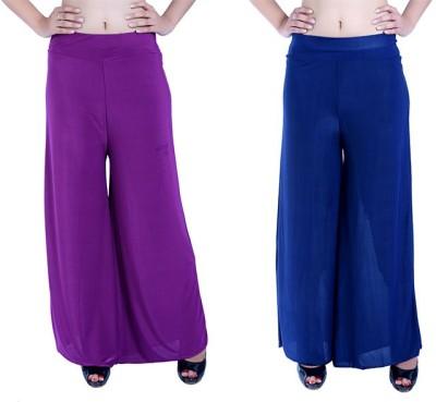 Ajaero Regular Fit Women's Purple, Dark Blue Trousers