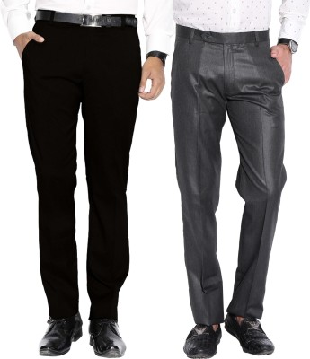 Fizzaro Regular Fit Men's Grey, Black Trousers