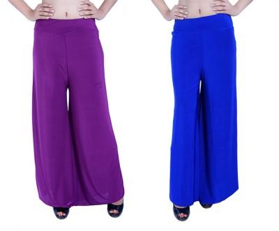 Ajaero Regular Fit Women's Purple, Blue Trousers