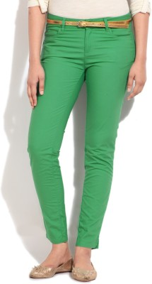 United Colors of Benetton Skinny Fit Women's Green Trousers at flipkart