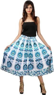 Jaipuri Bandhej Regular Fit Women's White, Blue Trousers