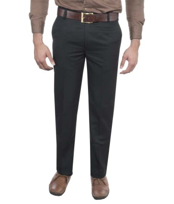 RICH PERK Regular Fit Men's Black Trousers
