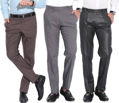 Fizzaro Regular Fit Men's Brown, Grey, Grey Trousers