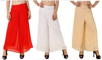 RoseBella Regular Fit Women's Red, White, Beige Trousers