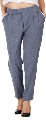 Fuziv Regular Fit Women's Blue Trousers