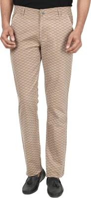 Own Voice Regular Fit Men's Beige, Brown Trousers