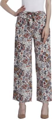 Only Regular Fit Women's White, Grey Trousers at flipkart