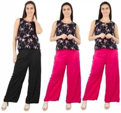 Fashion Flow+ Regular Fit Women's Black, Pink, Pink Trousers