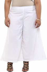 kira plus Regular Fit Women's White Trousers