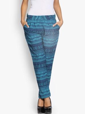 Folklore Slim Fit Women's Blue Trousers