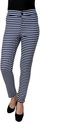 99Hunts Slim Fit Women's Dark Blue Trousers
