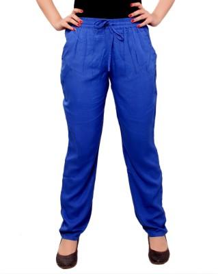 A&K Slim Fit Women's Blue Trousers