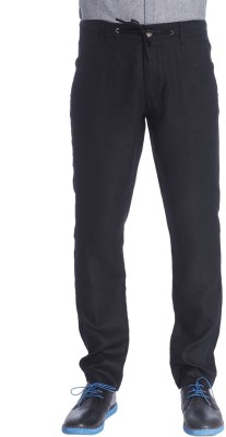 Jack & Jones Slim Fit Men's Linen Black Trousers at flipkart
