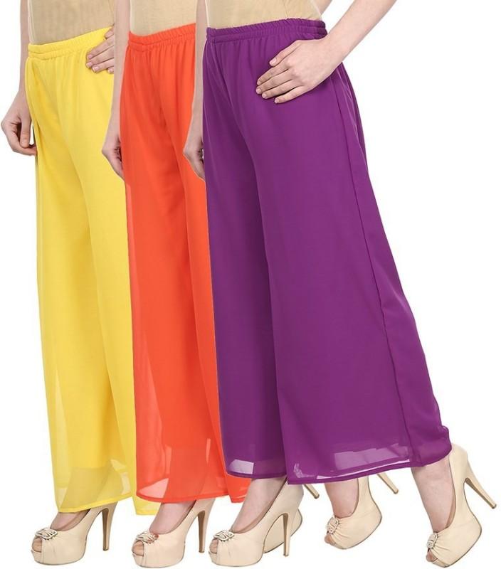 SYS Regular Fit Women's Yellow, Orange, Purple Trousers