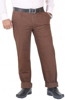 DMARK Slim Fit Men's Brown Trousers