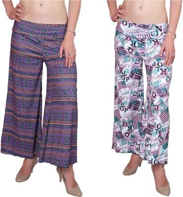 DAMEN MODE Regular Fit Women's Green, Dark Blue Trousers